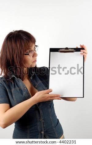 businesswoman holding clipboard #11 - stock photo