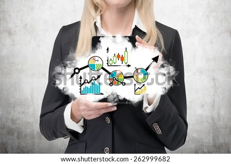 businesswoman holding cloud with forex chart - stock photo