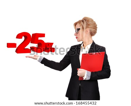businesswoman holding discount symbol on a white background - stock photo