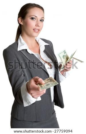 Businesswoman Holding Money - stock photo