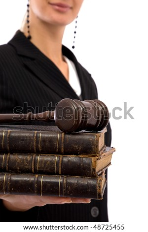 businesswoman holding old book and gavel for legal concept - stock photo