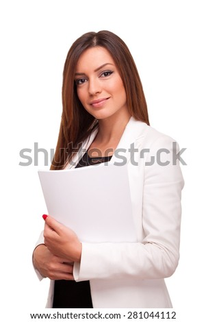 Businesswoman holding papers - stock photo