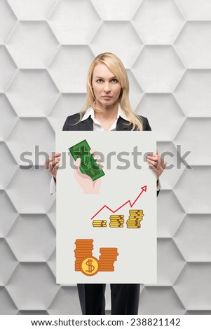 businesswoman holding placard with drawing business objects - stock photo