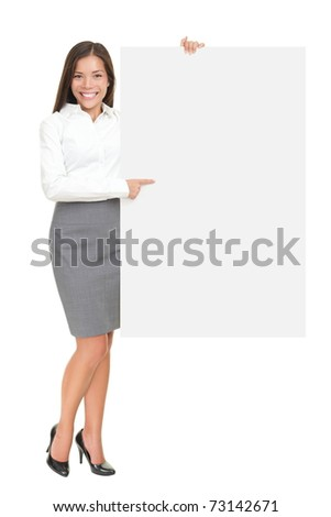 Businesswoman holding white blank empty billboard sign with copy space for text. Beautiful young mixed race Asian Caucasian woman isolated on white background in full length. - stock photo