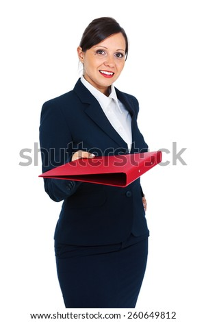 Businesswoman in a dark costume giving a folder with documents, suitable to represent a business person or secretary, isolated on white