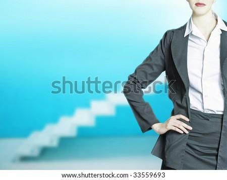 businesswoman in blue modern office - stock photo
