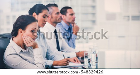 people bored at work. businesswoman in bright office getting bored while attending presentation people at work p