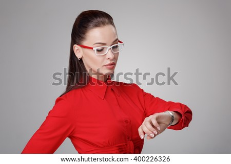 businesswoman in eyeglasses  - stock photo