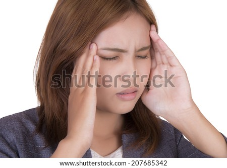 Businesswoman in headaches on a white background.