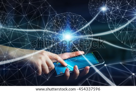 Businesswoman in office using digital data network with his mobile phone '3D rendering' - stock photo
