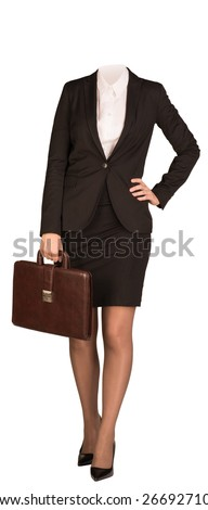 Businesswoman in suit without head, standing and holding briefcase. Isolated on white background - stock photo