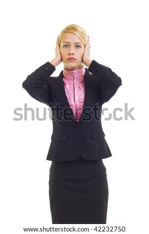 businesswoman in the Hear No Evil pose over white - stock photo