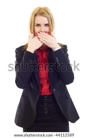 businesswoman in the Speak No Evil pose over white - stock photo