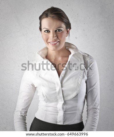 Businesswoman in white blouse