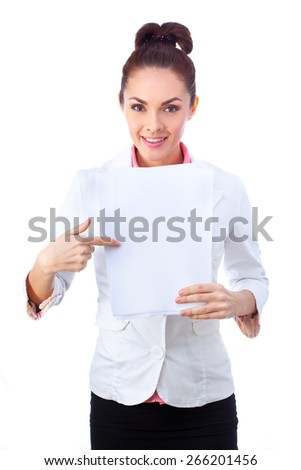Businesswoman  in white suit holding whiteboard sign.