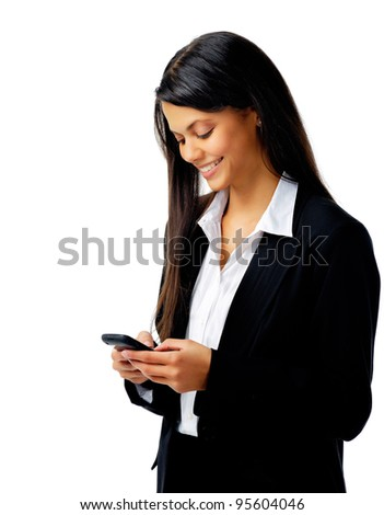 businesswoman is happy and using her phone to text message isolated on white - stock photo