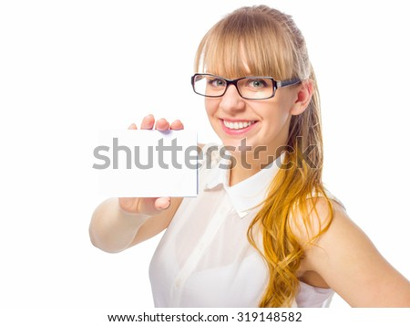 Businesswoman is showing business card, focus on card