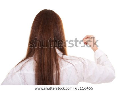 Businesswoman isolate on white background - stock photo