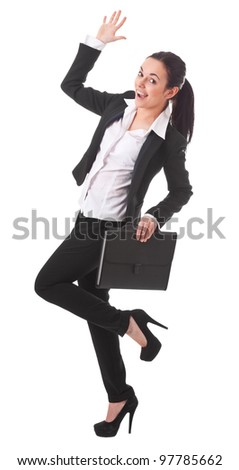 Businesswoman jumping with a briefcase isolated on white background - stock photo