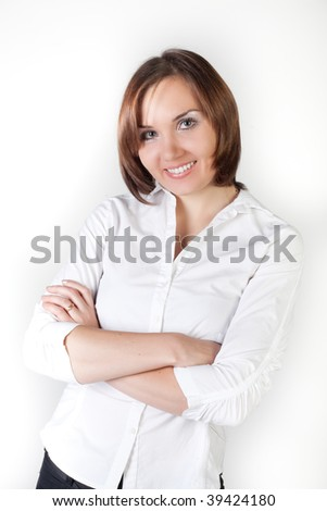 Businesswoman look at camera and smile. Close-up