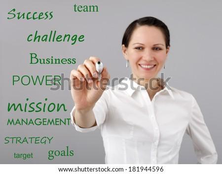 Businesswoman making a presentation - stock photo