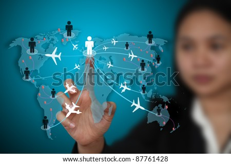 businesswoman making money form world globalization transport business travel - stock photo