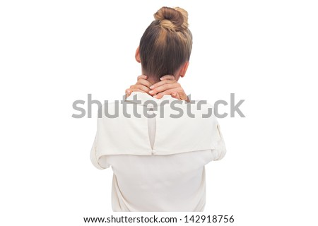 Businesswoman massaging with hand on her neck