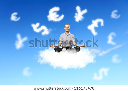 Businesswoman meditating sitting on the white cloud