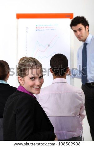 businesswoman on a professional training - stock photo