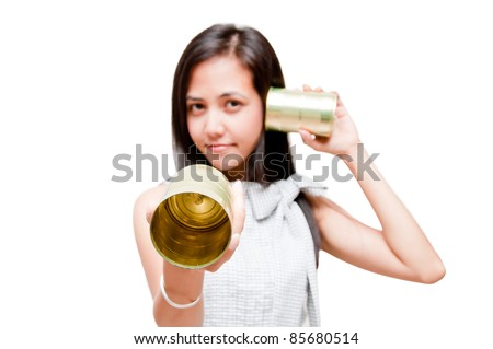 businesswoman on call with tin can phone
