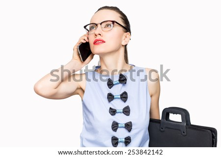 Businesswoman on cellphone walking talking on smart phone. Happy smiling caucasian business woman busy - stock photo