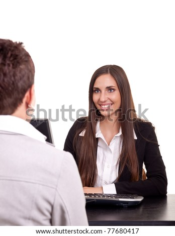 businesswoman on meeting  with a client in office