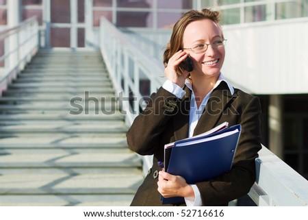 Businesswoman on the phone. - stock photo