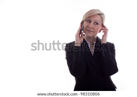 Businesswoman on the phone has satisfied - stock photo