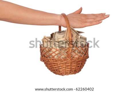 businesswoman owns the currency basket with dollars and dollars for stable business