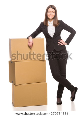 Businesswoman packing in carton boxes and getting ready for moving - isolated on white background. - stock photo