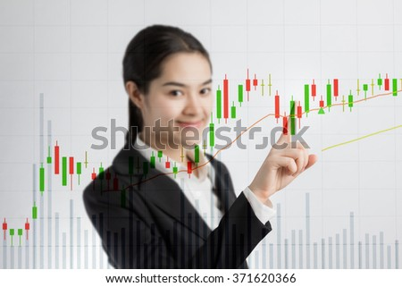 Businesswoman pointing analyze graph for trade stock market on the screen. - stock photo