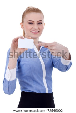 businesswoman pointing at her business card - isolated over a white background - stock photo