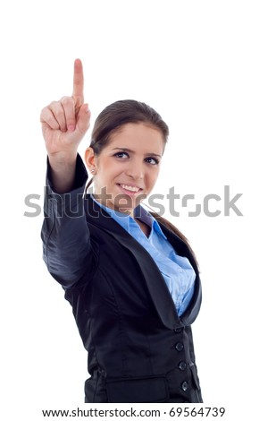 Businesswoman pointing her finger on imaginery virtual button. - stock photo