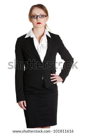 Businesswoman portrait, isolated on white - stock photo