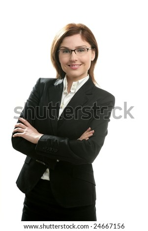 Businesswoman portrait isolated on white studio background - stock photo