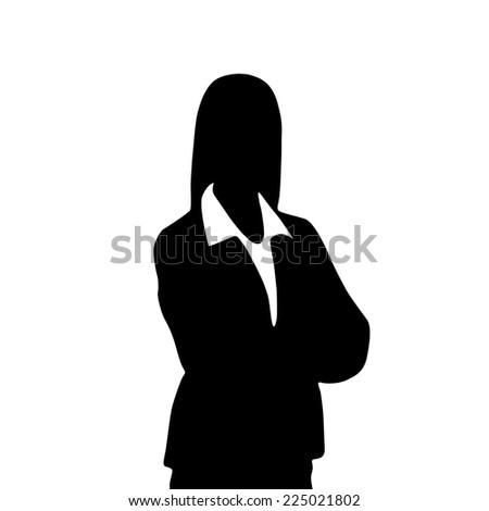 businesswoman portrait silhouette, female icon avatar profile picture black woman isolated over white background - stock photo