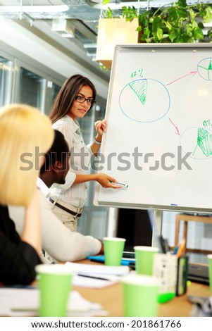 Businesswoman presenting a new strategy to his colleagues - stock photo