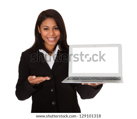 Businesswoman Presenting Laptop. Isolated On White Background