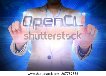 Businesswoman presenting the word opencl against background with shiny ball - stock photo