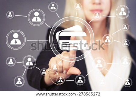 Businesswoman press button credit card sign web icon