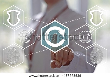 Businesswoman presses a circular arrow on the virtual panel. Sign circular arrow, rotation, reset, reload, refresh. Electronic technology in the business. - stock photo