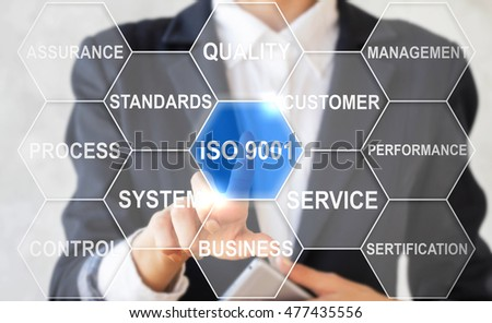 businesswoman presses iso 9001sign. Businessman push icon quality management system. Business, network, set requirements, quality, reliability, service, standards. Hexagon style.