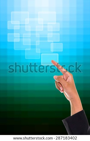 Businesswoman pressing an imaginary button. - stock photo
