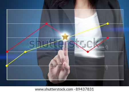 businesswoman pressing chart on touch screen interface - stock photo